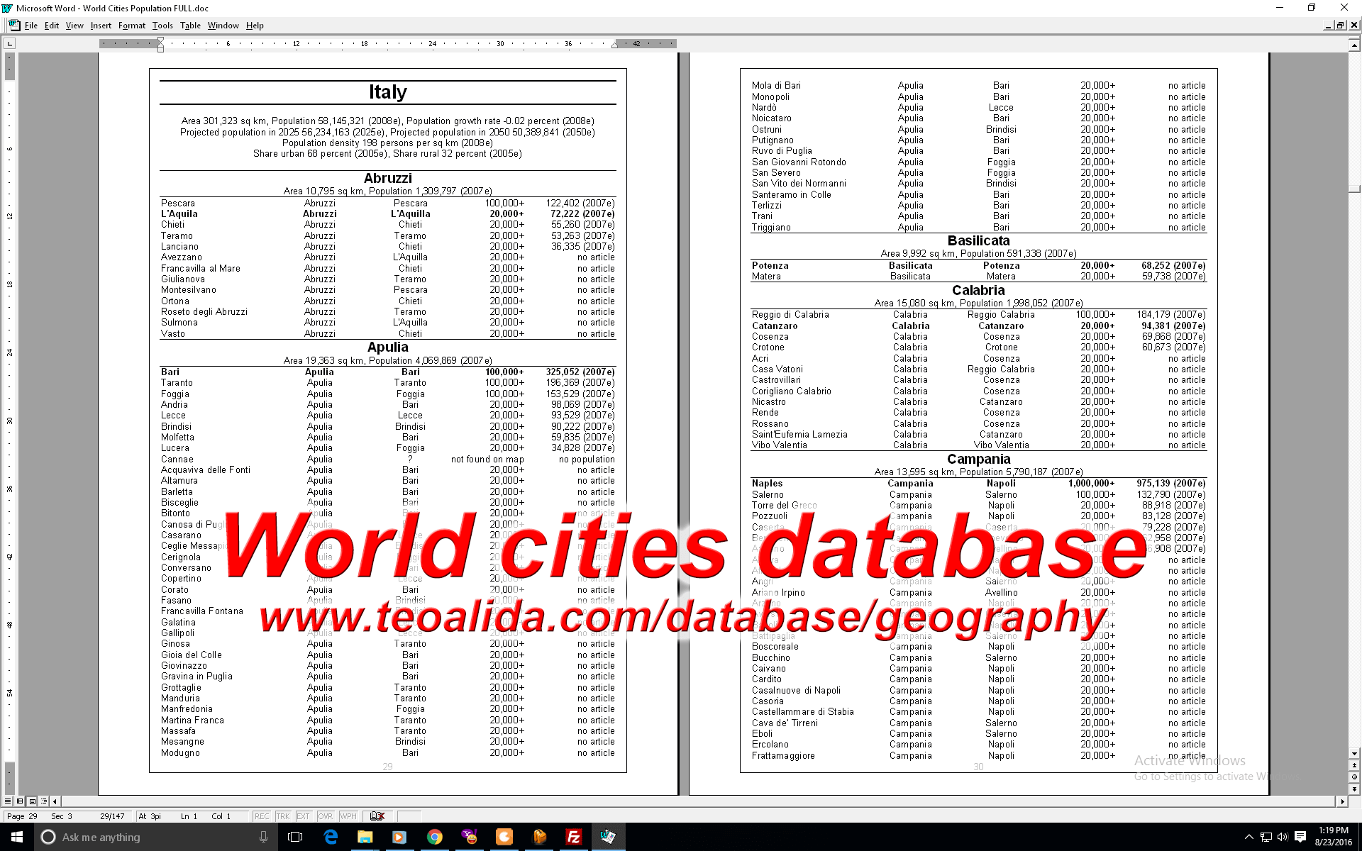 World city database