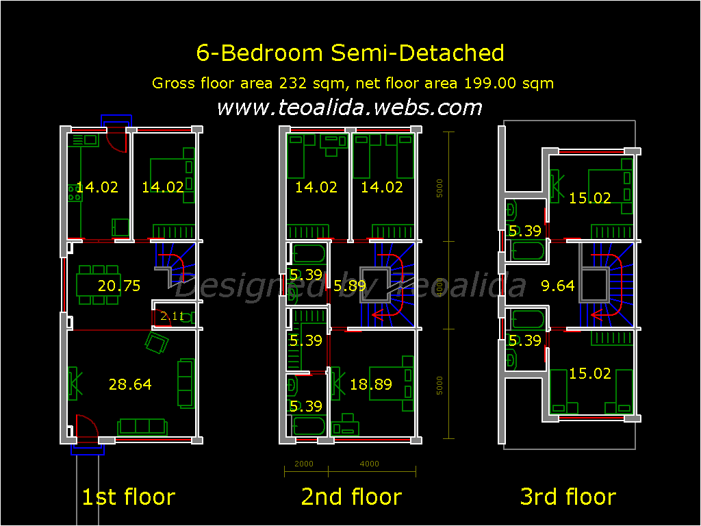 House floor plans 50 400 sqm designed by teoalida for Floor plans for a semi detached house extension