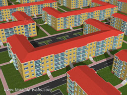 Housing estate with U-shaped blocks