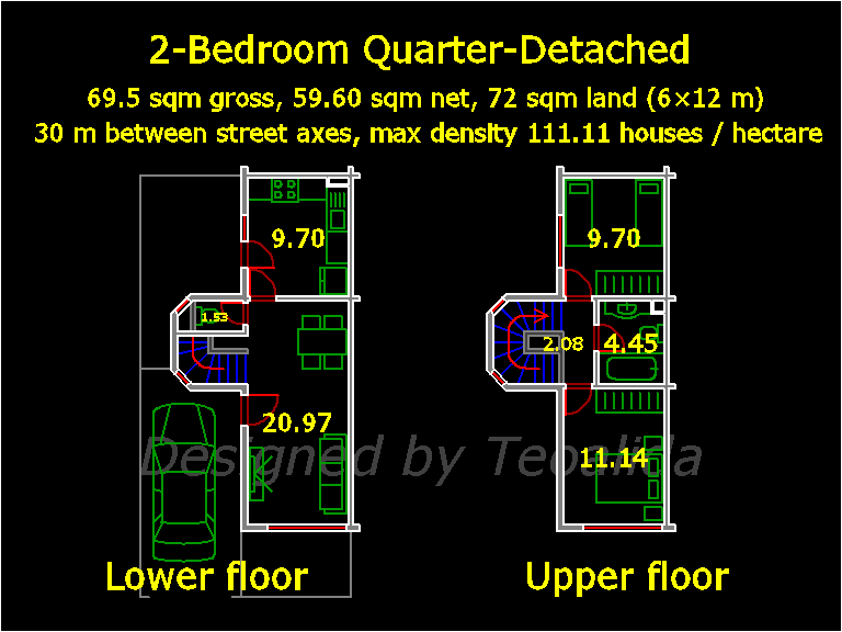 Quarter-Detached house floor plan, 5 meters wide and 10 meters long