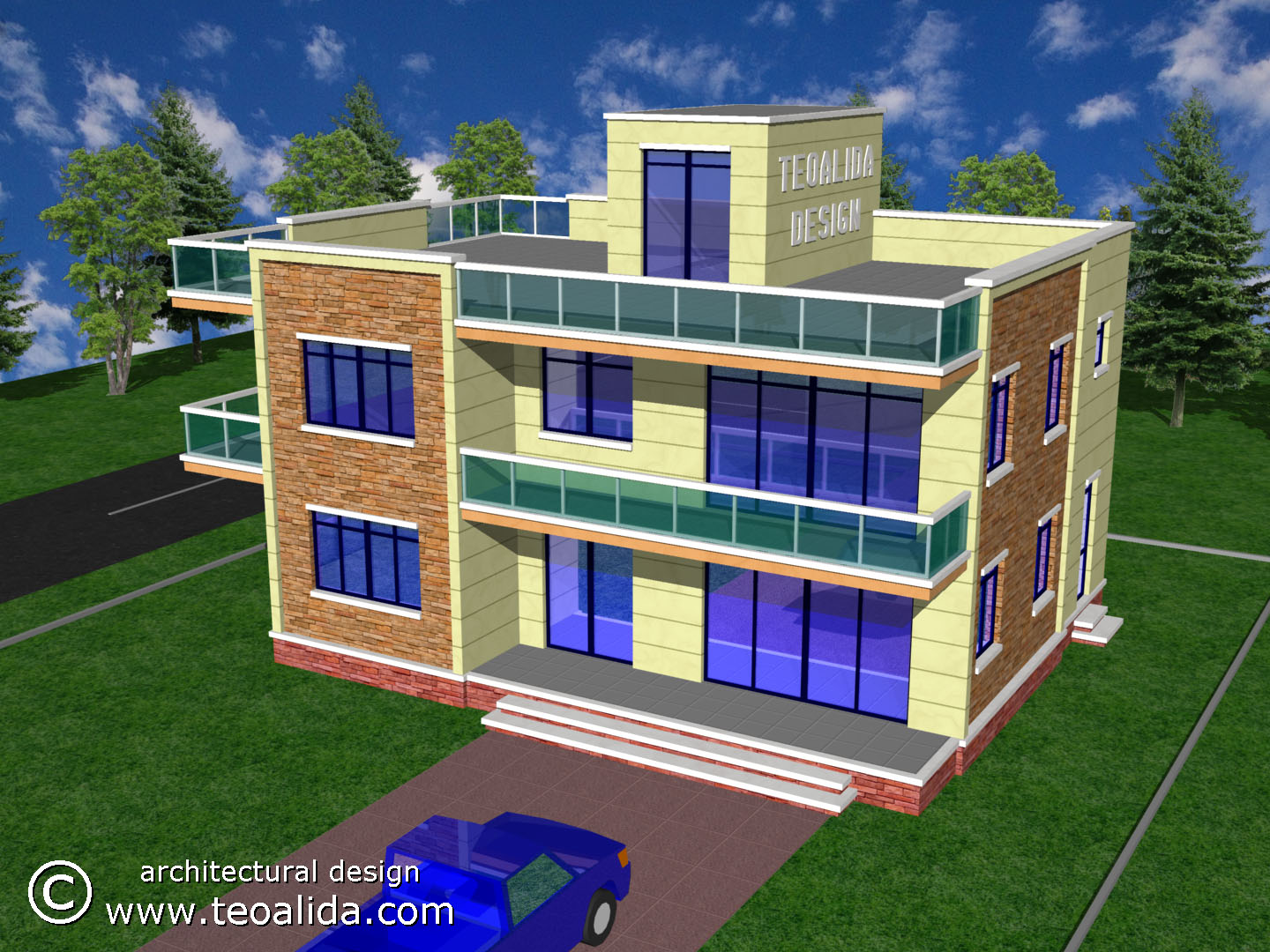 3D Modern House Design Front View ...