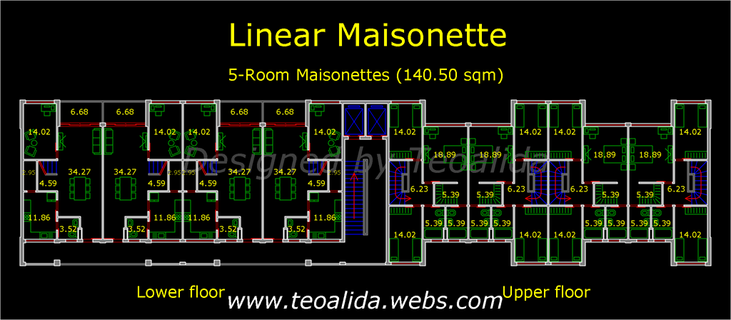 Linear Maisonette floor plan, 140 sqm duplex apartments