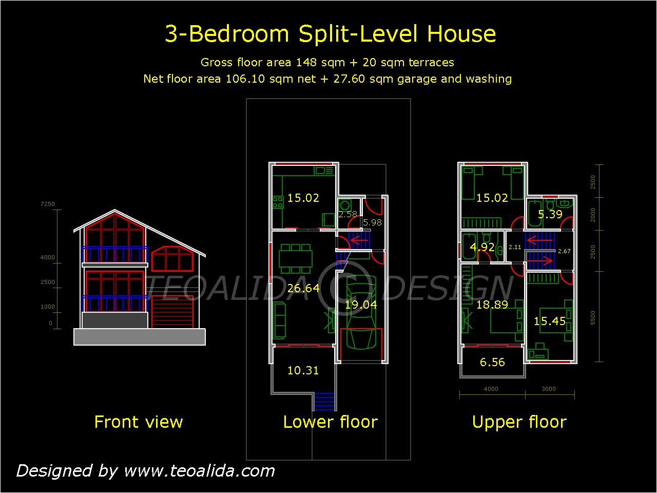 Split level home with 3 bedrooms and garage. House floor plans   custom house design services for you