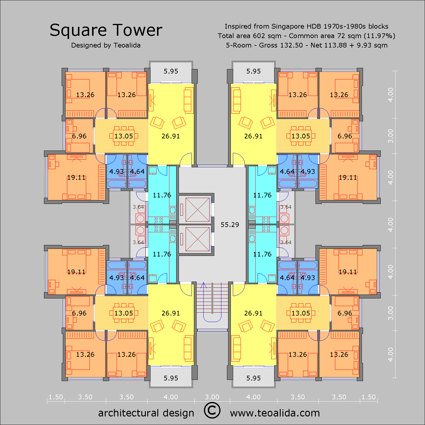 Square tower floor plan, 130 sqm 5-room apartments