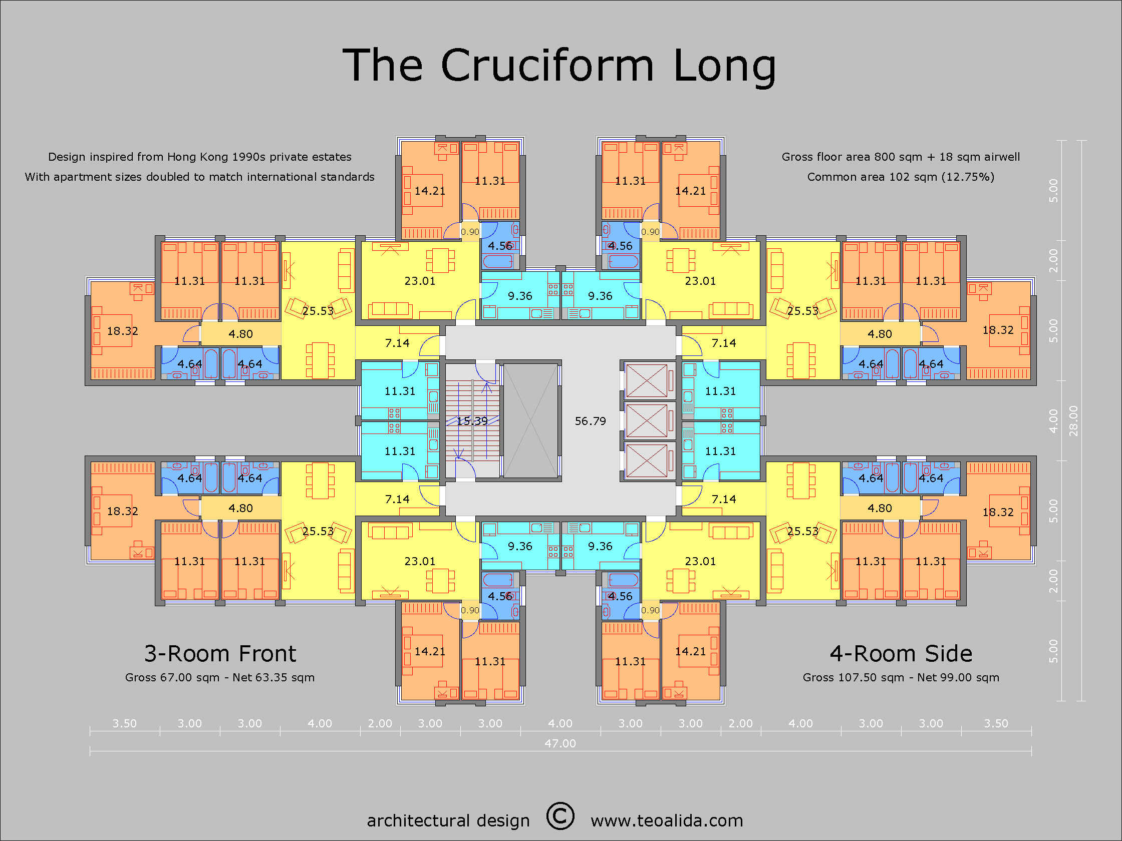 The Cruciform floor plan