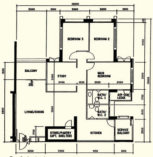 Executive Apartment floor plan (130 sqm)