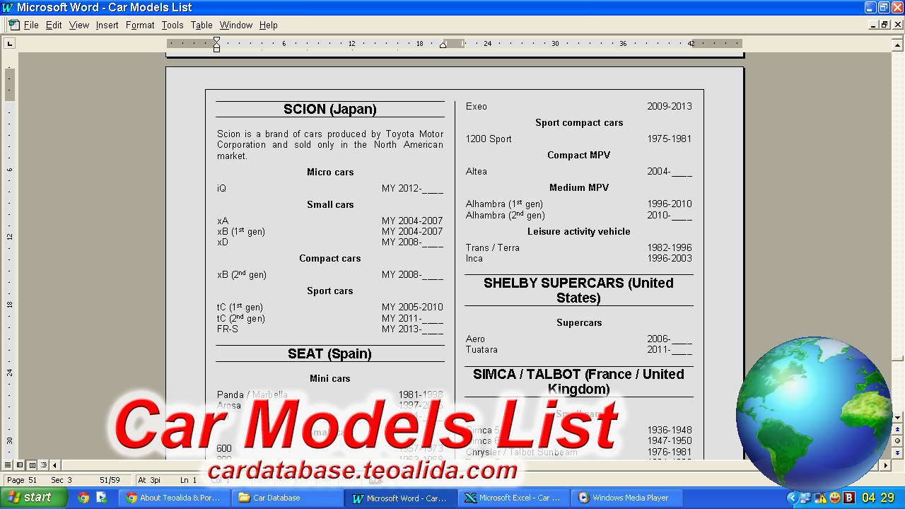 Car Models List