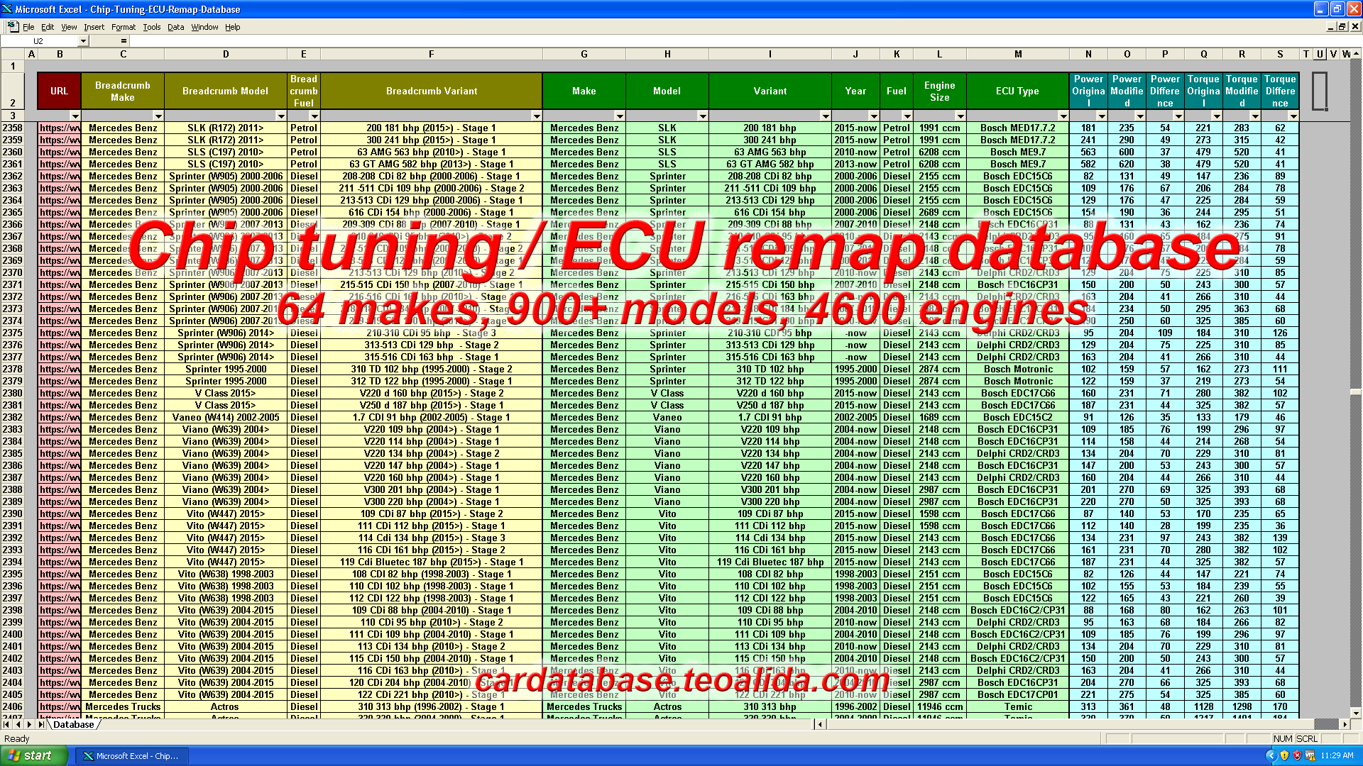 Chip tuning ECU remap database