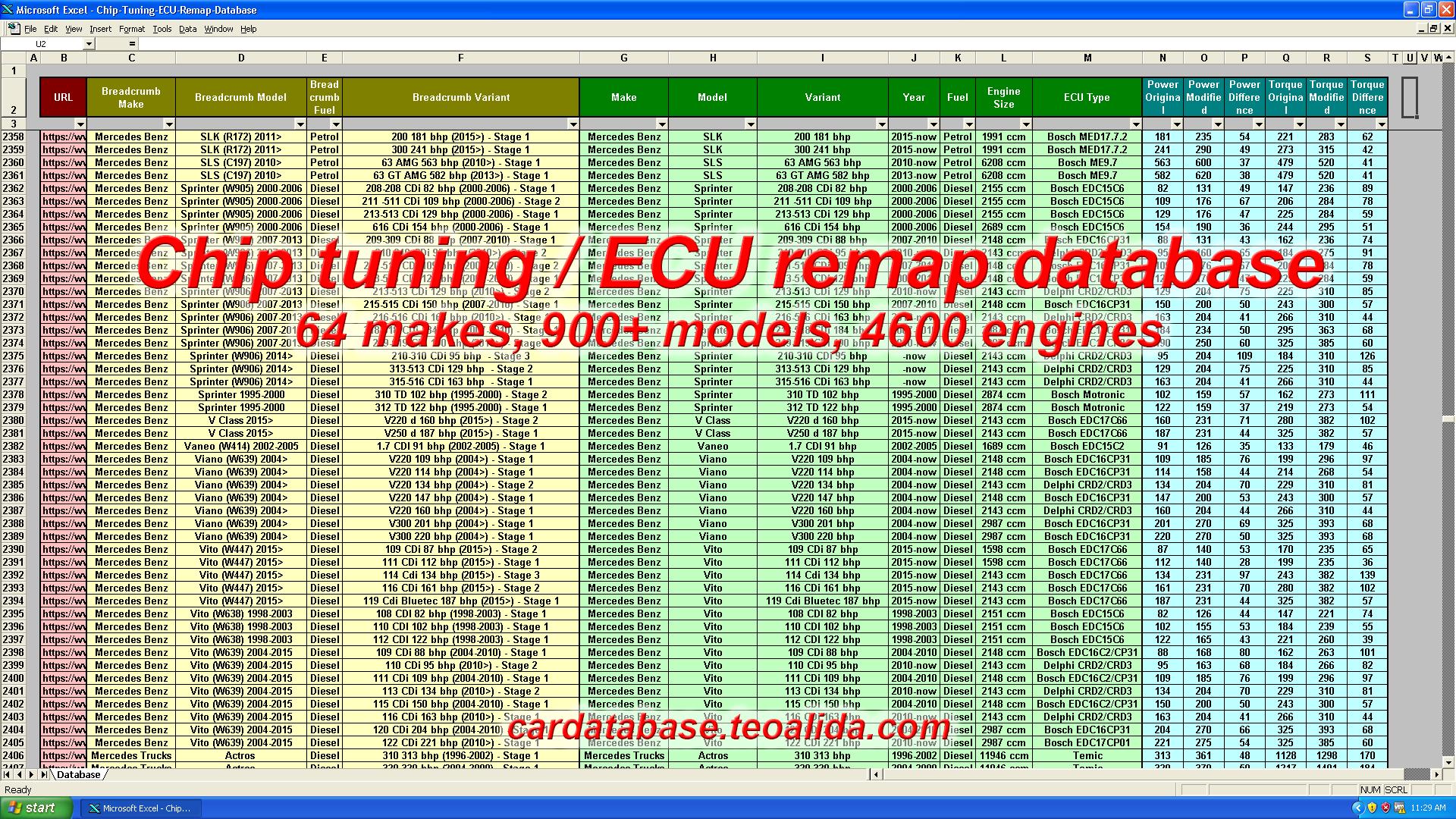 Chip tuning ECU remap database
