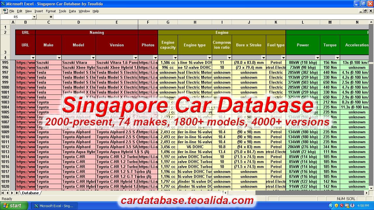 Singapore car database