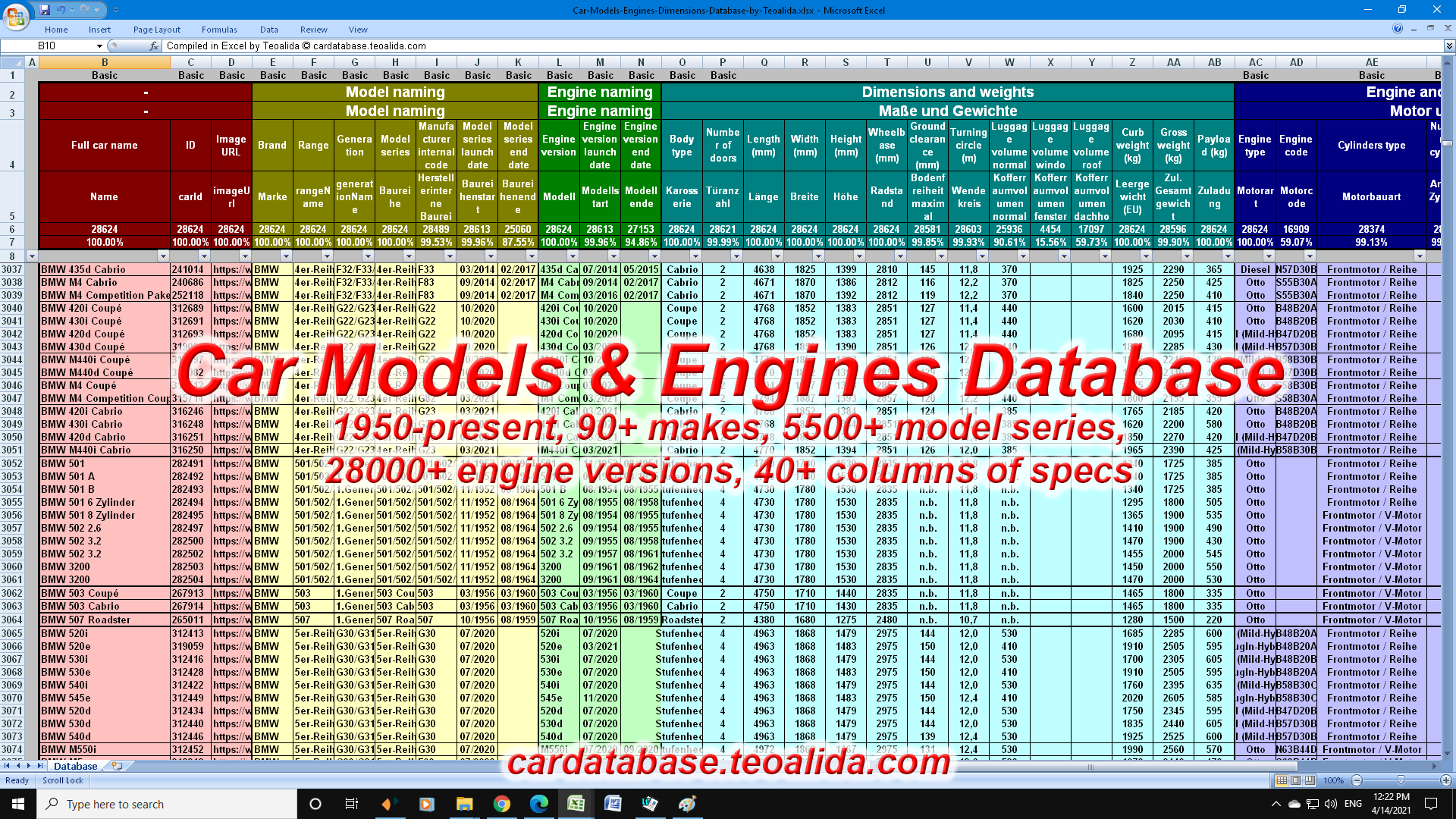 Car Models & Engines Database