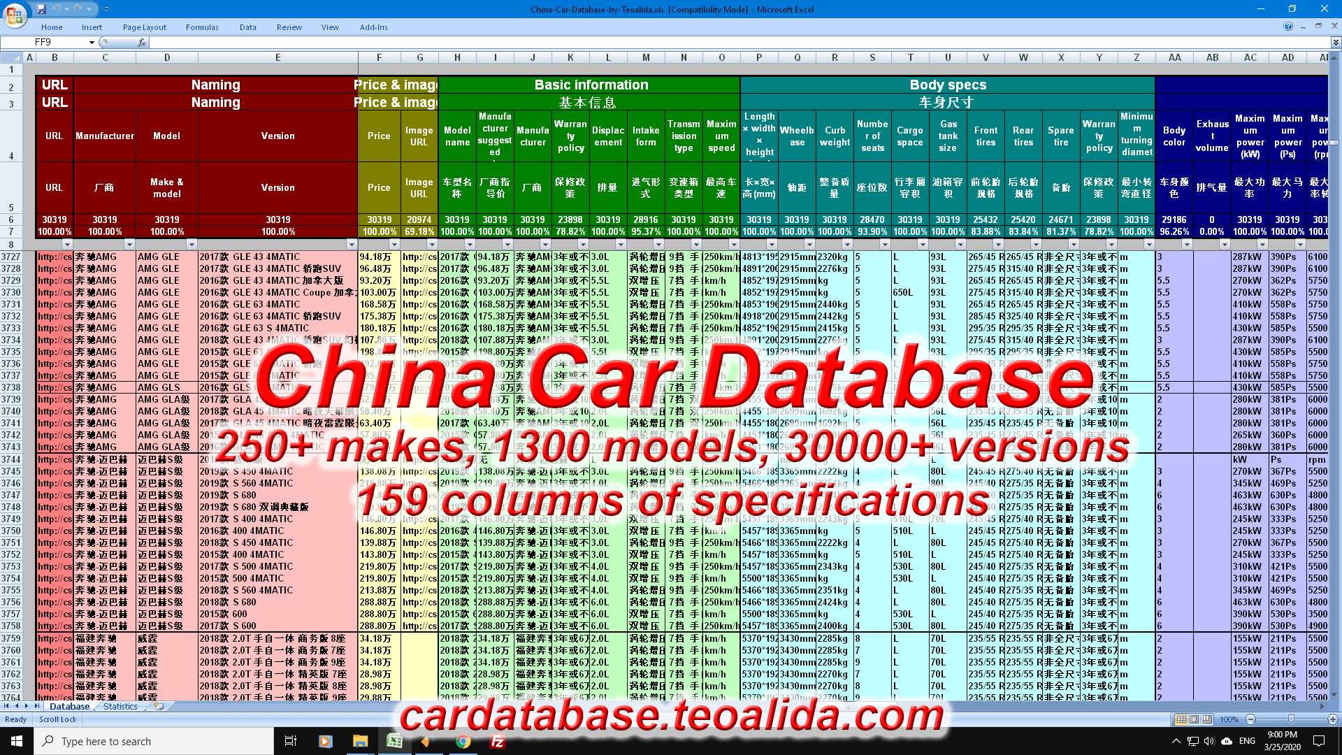 China car database