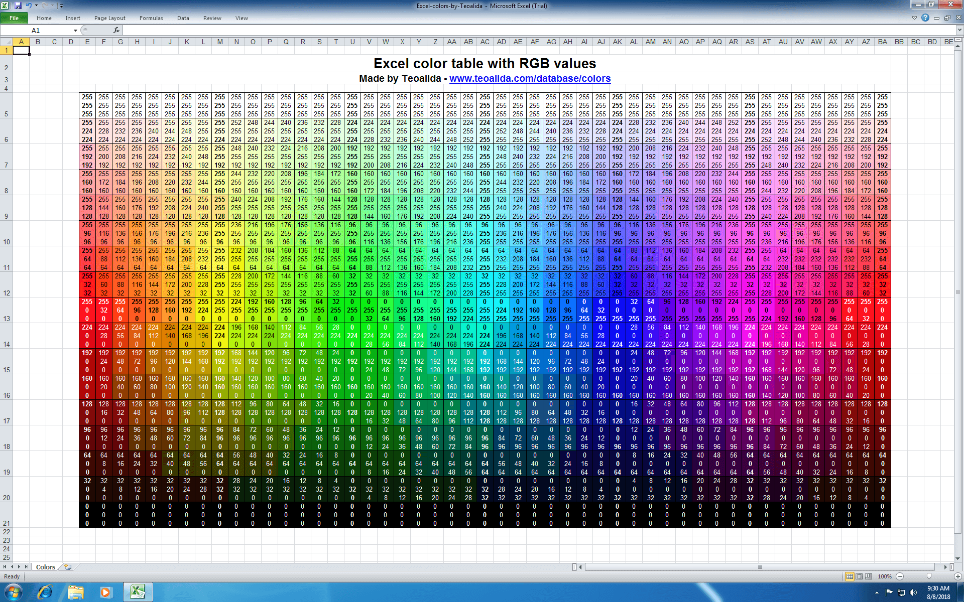 Excel colors with RGB values