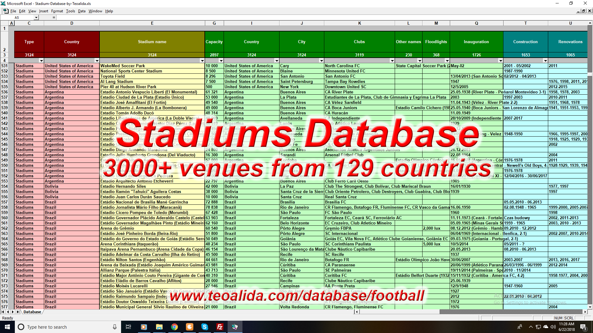 Stadiums Database - 3000 football / soccer venues from the world