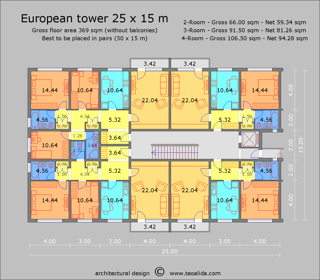 European Linear high-rise 25 x 15 m