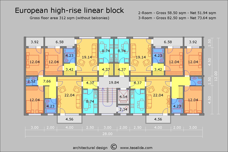European Linear high-rise 28 x 12 m