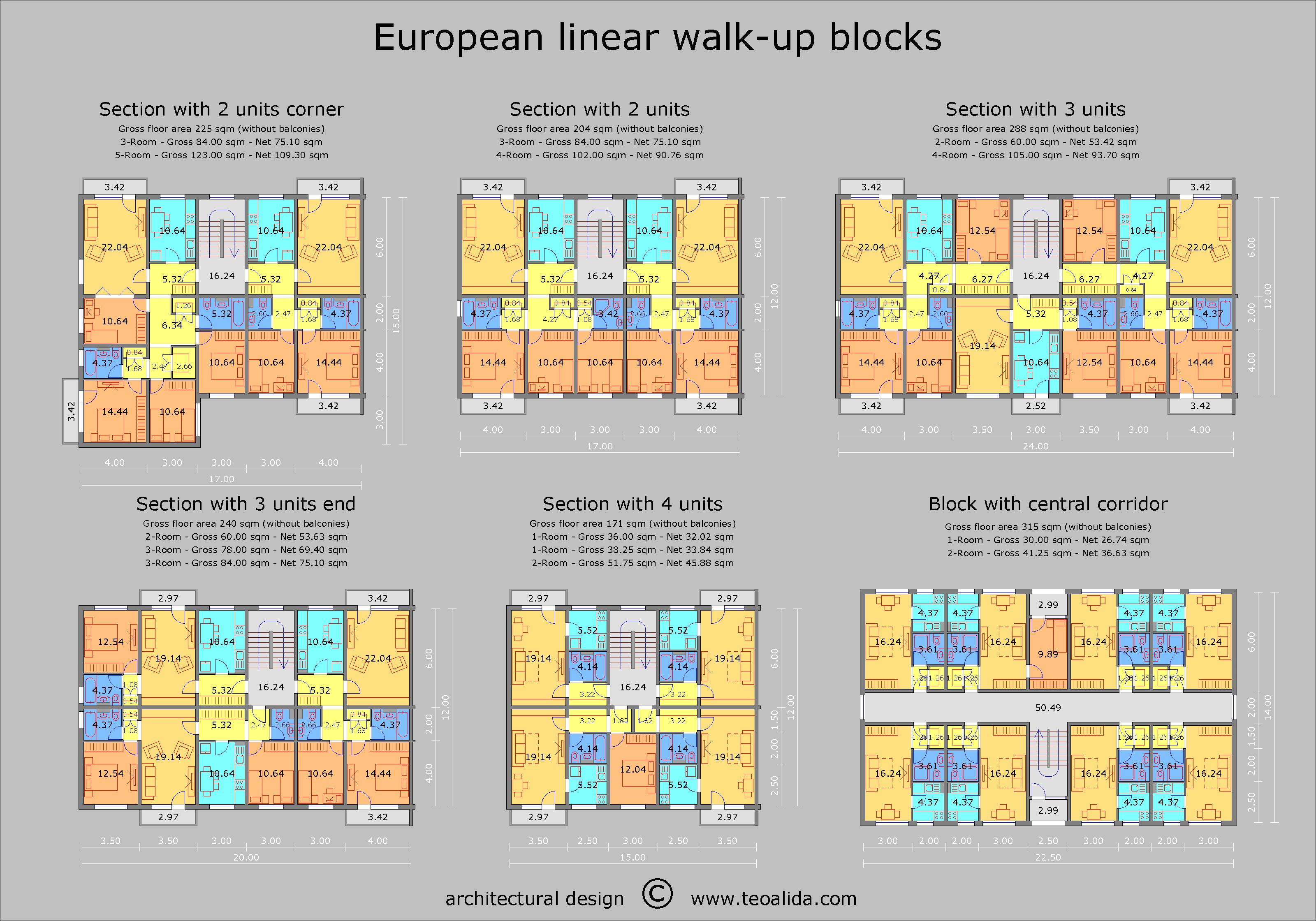 European walk-up floor plan, 2, 3, 4 room apartments