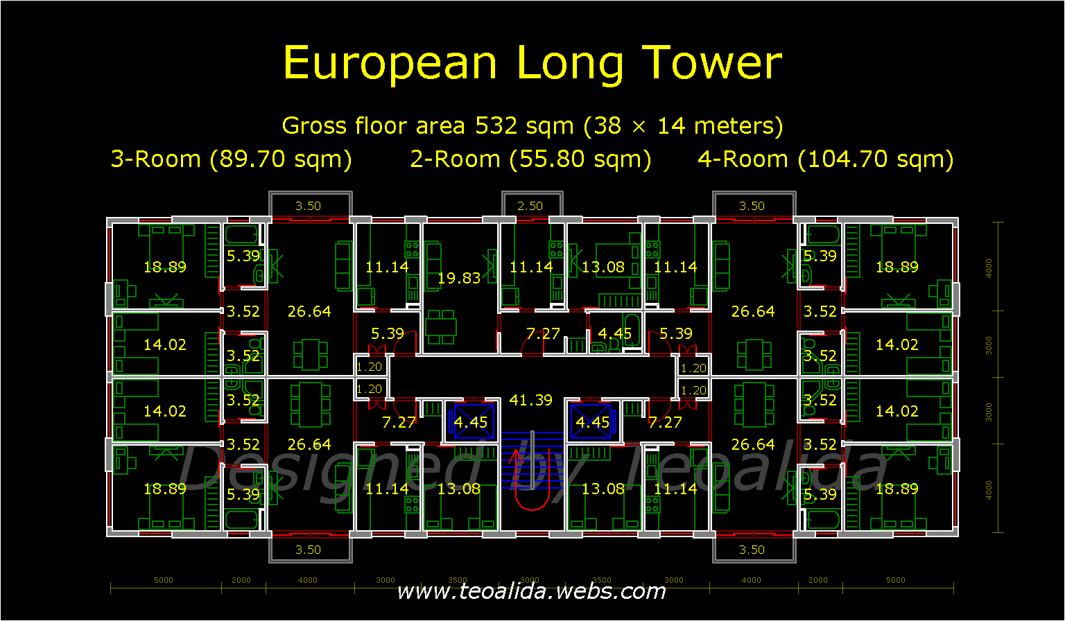 Long Rectangle Tower floor plan