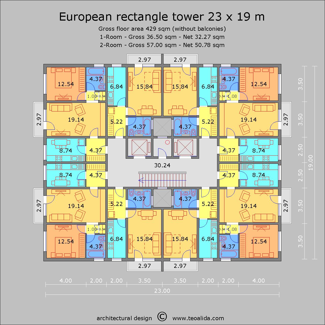 European Rectangle Tower 23 x 19 m