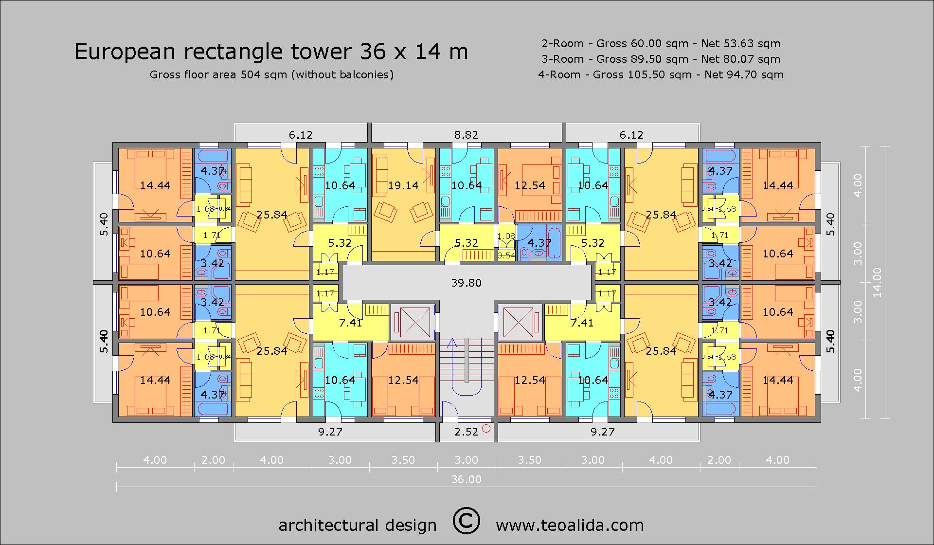 European Rectangle Tower 36 x 14 m