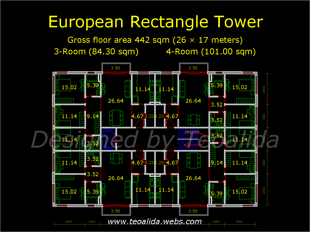 Rectangle Tower floor plan