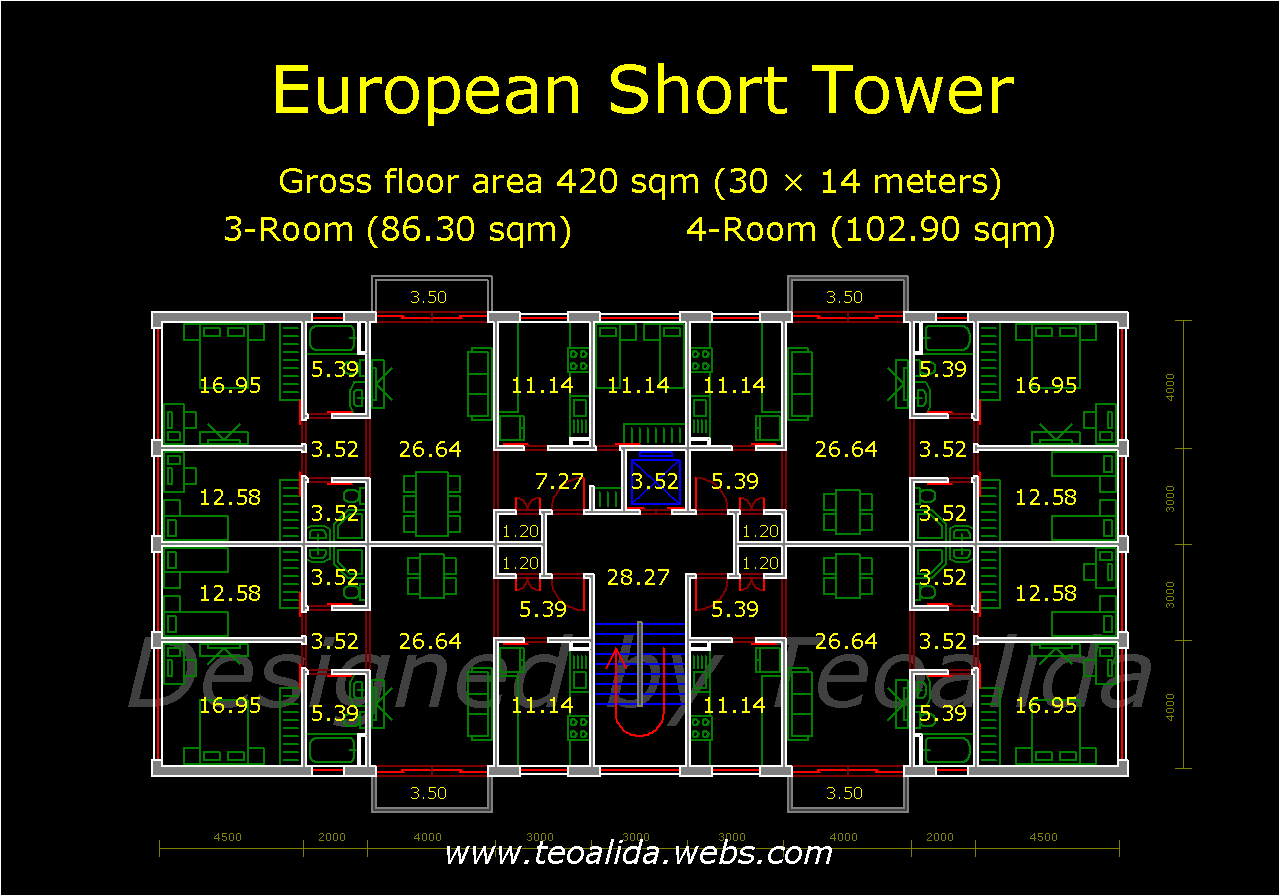 Short Rectangle Tower floor plan