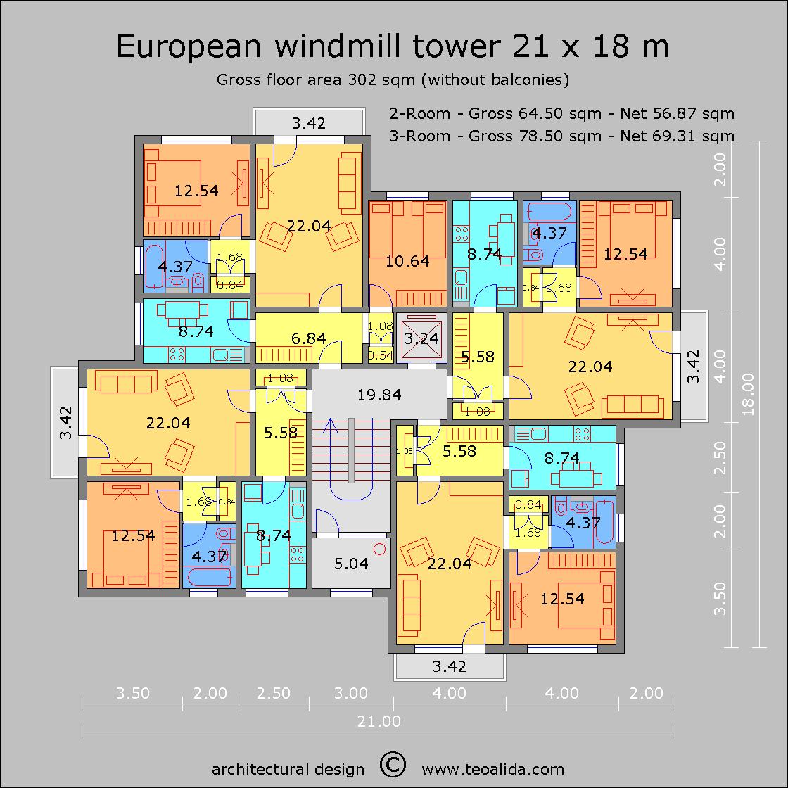 European Windmill Tower 21 x 18 m