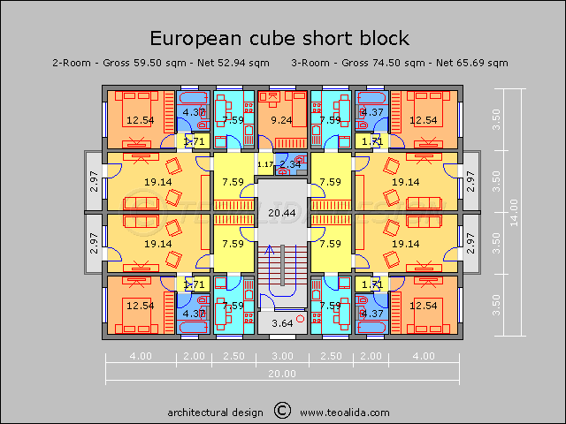 European cube block with 2 / 3 room
