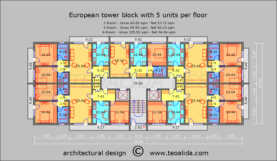 Bloc turn cu 5 apartamente pe etaj