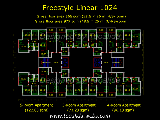 Typical floorplan of Freestyle Linear 1024 apartment complex