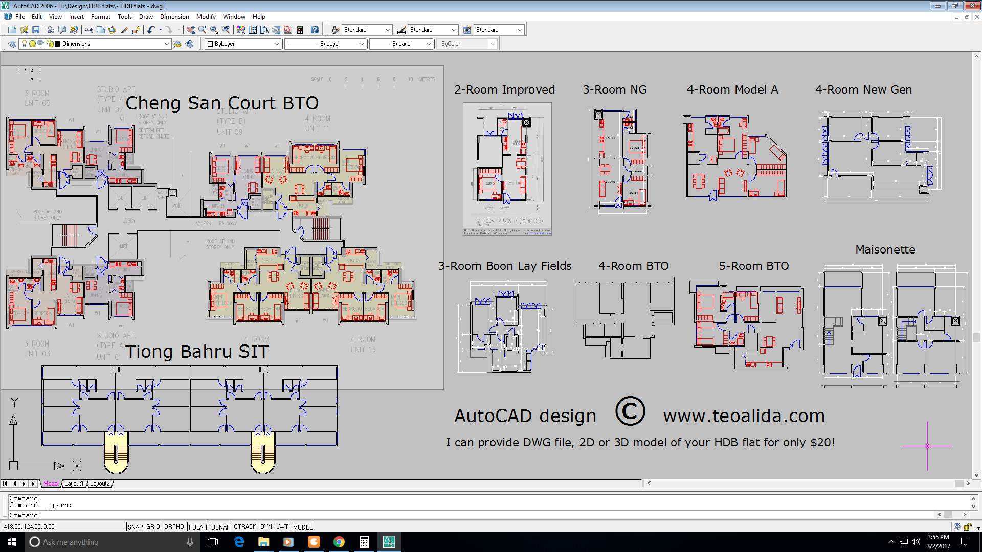 HDB floor plans AutoCAD DWG file