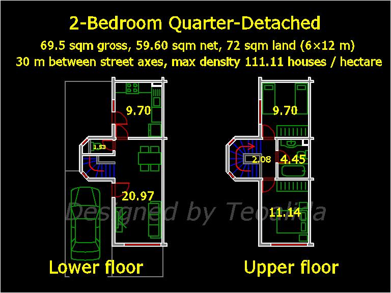 Quarter-Detached house floor plan, 5 meters wide and 10 meters long