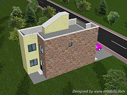 3D house design back view