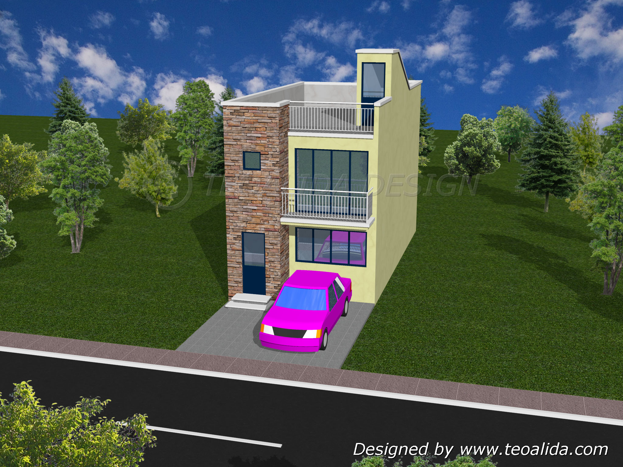 3D House Design Front View ...