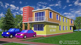 3D cubist house design front view