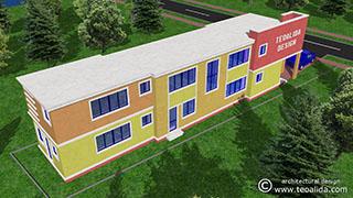 3D cubist house design rear view