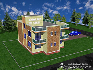 3D modern house design rear view