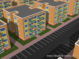 Rectangular block, 2 and 3 bedroom apartments