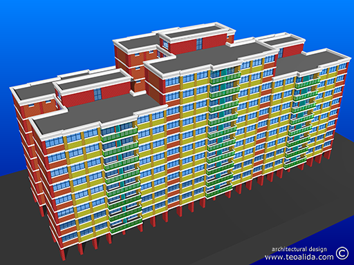H-shaped block with 70 sqm 3-room and 90 sqm 4-room
