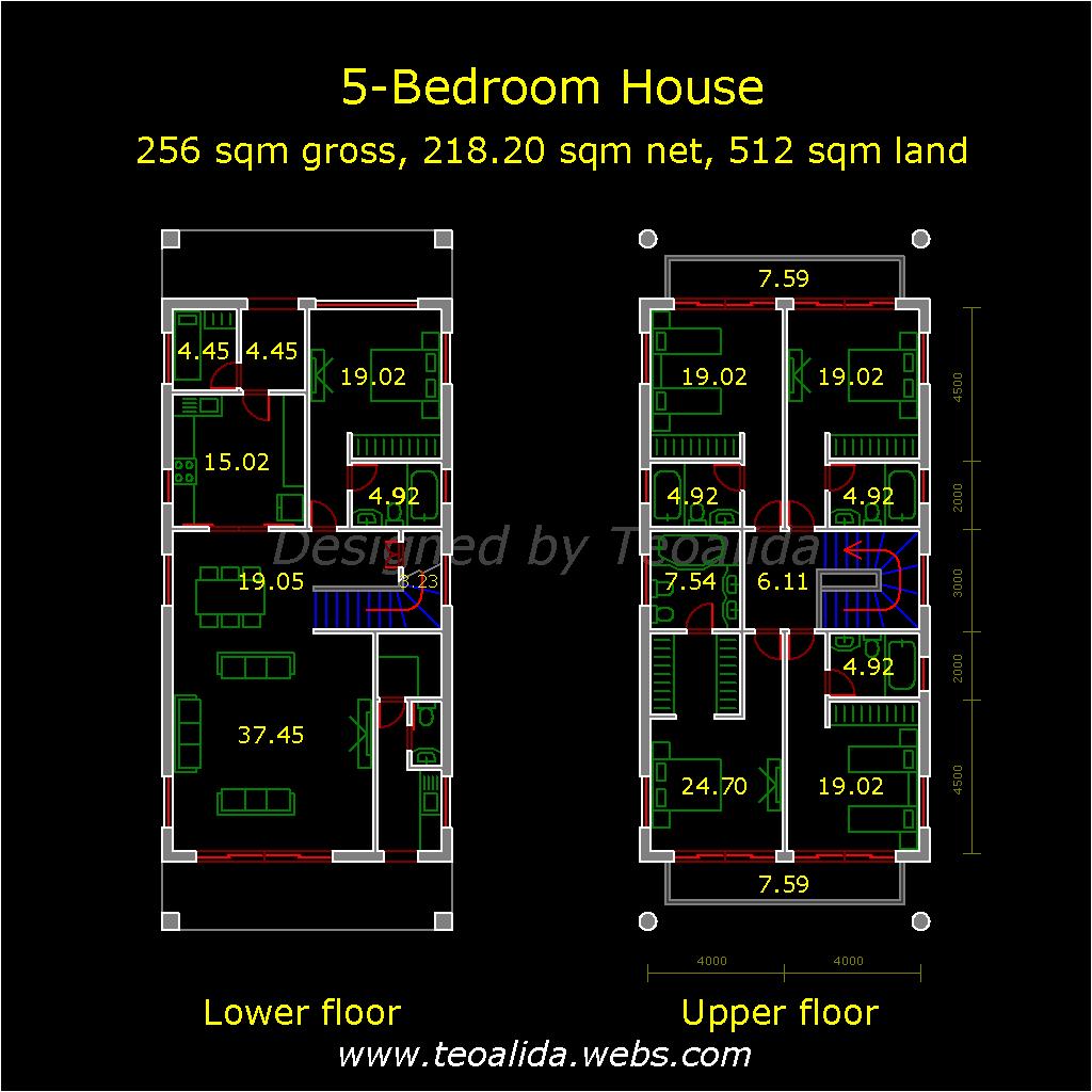 Narrow Bungalow, 8 meters wide, 5 bedrooms
