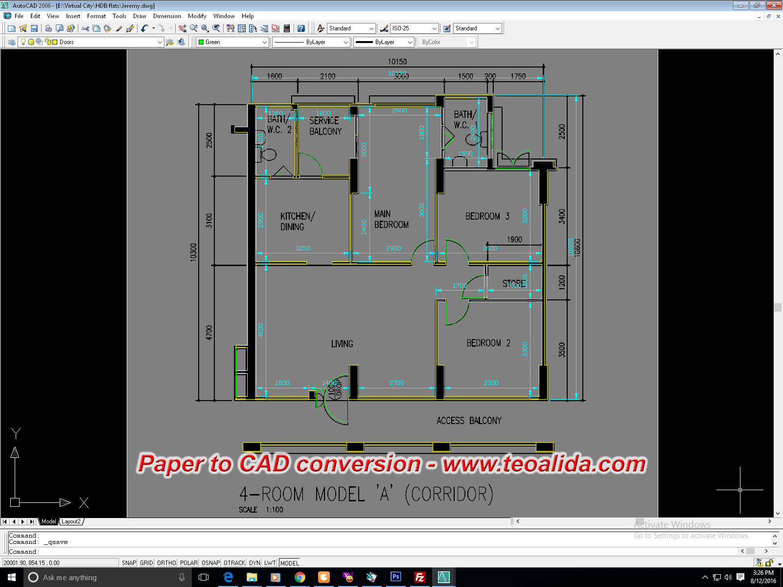 Paper to CAD conversion HDB flat