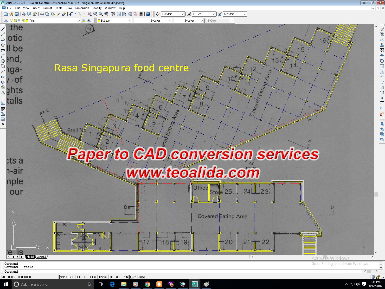 Paper to CAD conversion Rasa Singapura