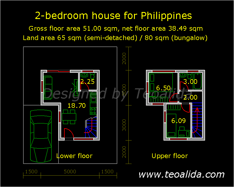 L-shaped house for Philippines, 2 bedrooms, 51 sqm