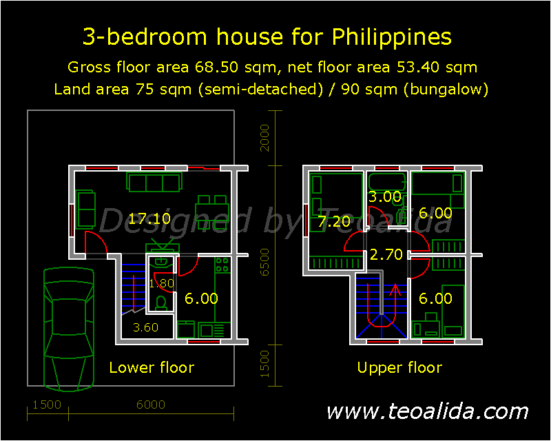 L-shaped house for Philippines, 3 bedrooms, 68 sqm