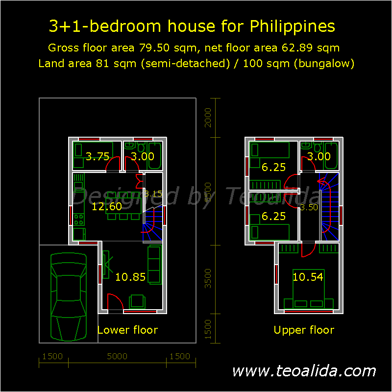 House Floor Plans 50 400 Sqm Designed By Teoalida: L-shaped House For Philippines, 3 Bedrooms, 79 Sqm