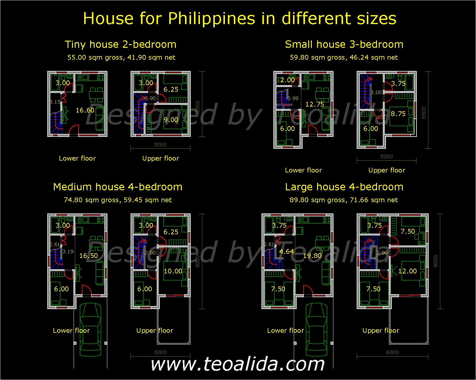 Philippines Houses in 4 different sizes, 2 to 4 bedrooms