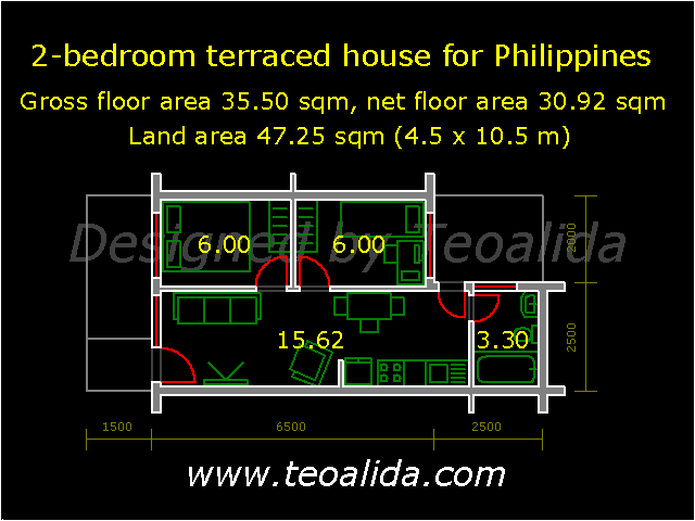 Terraced house with 2 bedrooms