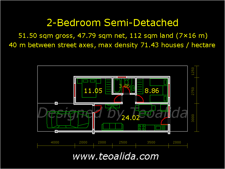 Semi-Detached house with 2 bedrooms