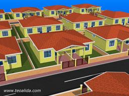 Semi-Detached house floor plan with 2 bedrooms