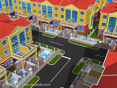 Terrace Airwells housing, aerial view